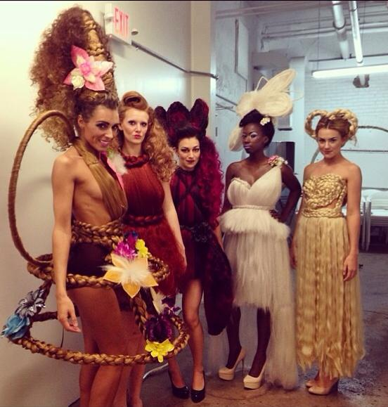 Backstage at Grand Finale Runway Show - Columbus Alternative Fashion Week 2014 Photo Credit - Brianne of Synthetic Rebellion Designer - Synthetic Rebellion Hair - Brianne & Kaylen of Synthetic Rebellion Model - Jessica Arnett, Kelsey Hagen, Stephanie Wright, MzDezy & Taylor Luksic